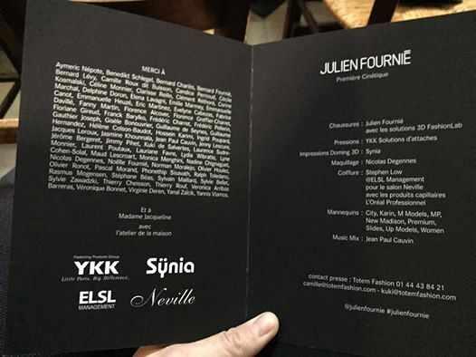 Synia, partenaire du créateur Julien Fournié